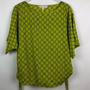 Michael Kors | Green MK Print Blouse | XL